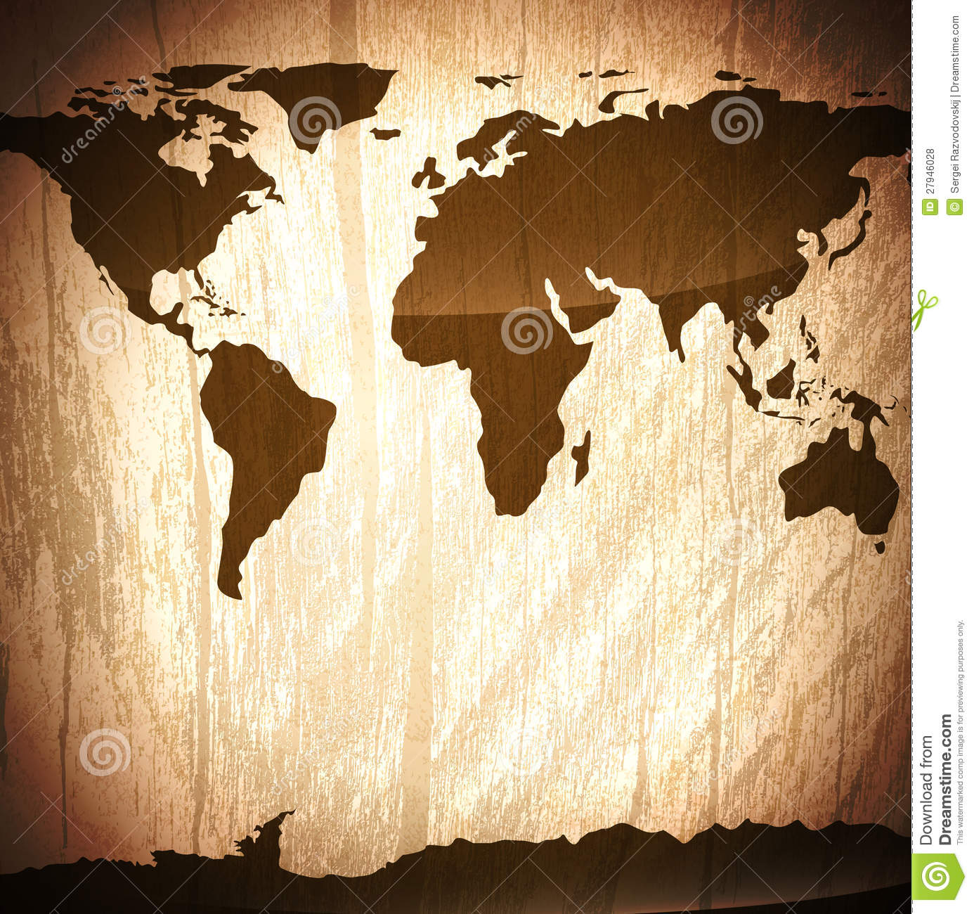 Vintage Wooden Background With World Map Stock Vector Illustration