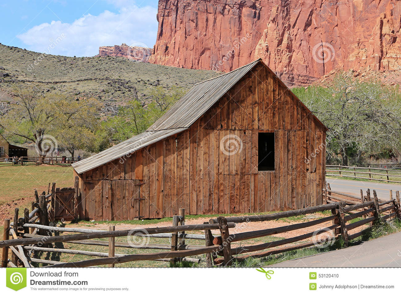 Vintage wooden barn and fence.