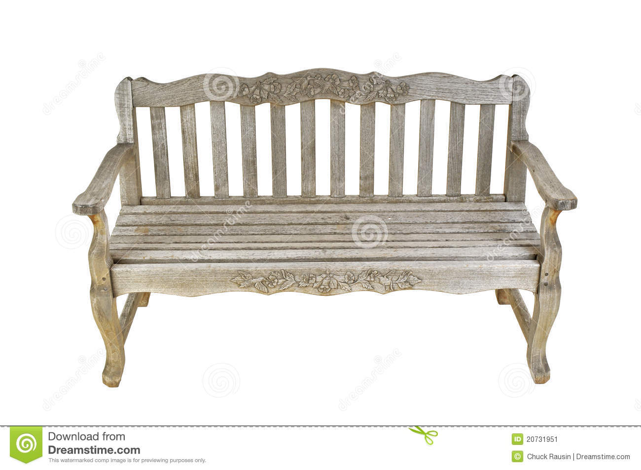 vintage wooden bench isolated on a white background.