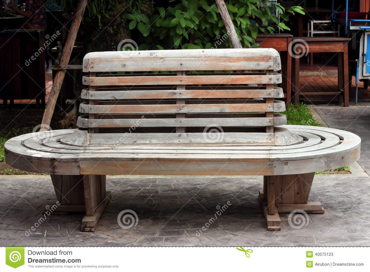 Vintage Wooden Bench On Railway Station Stock Image ...