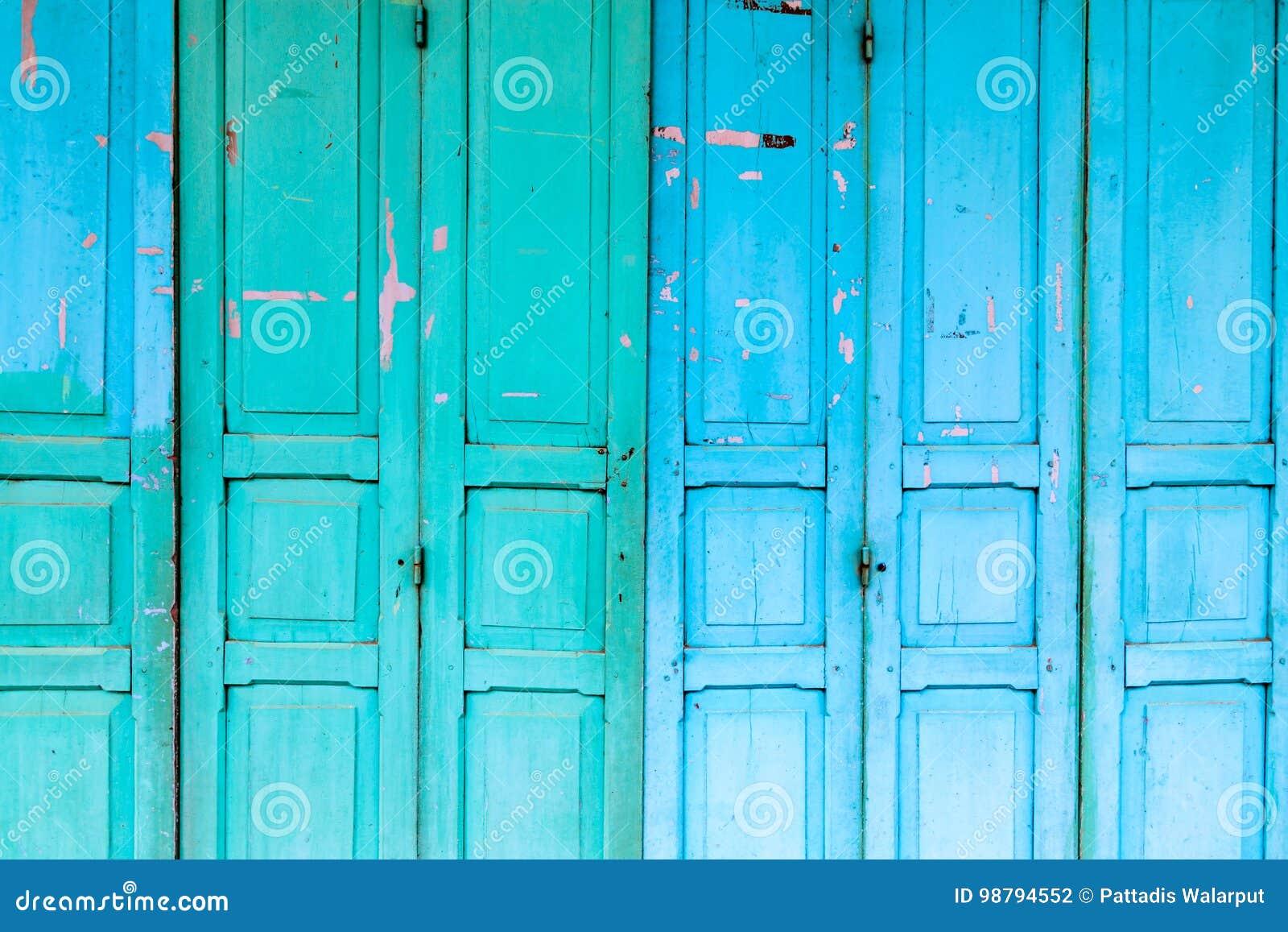 Vintage wooden blue cyan doors