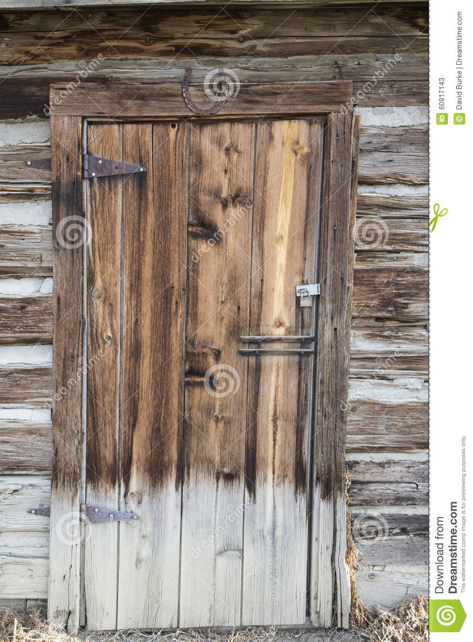 Vintage Wooden Cabin Door Stock Photo - Image: 60917143