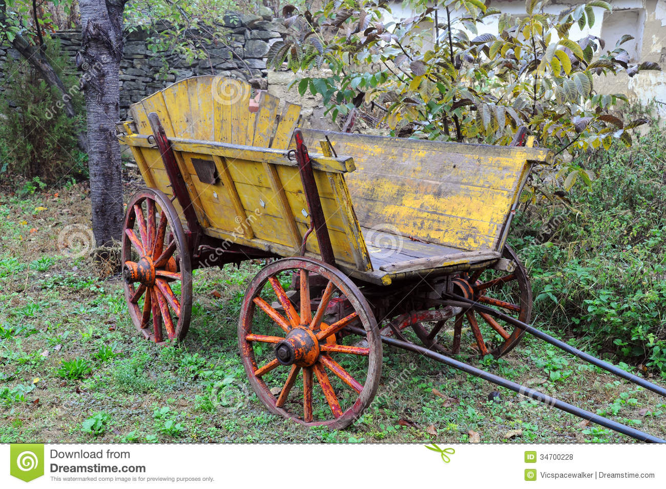 Vintage Wooden Cart Stock Photo. Image Of Balkans