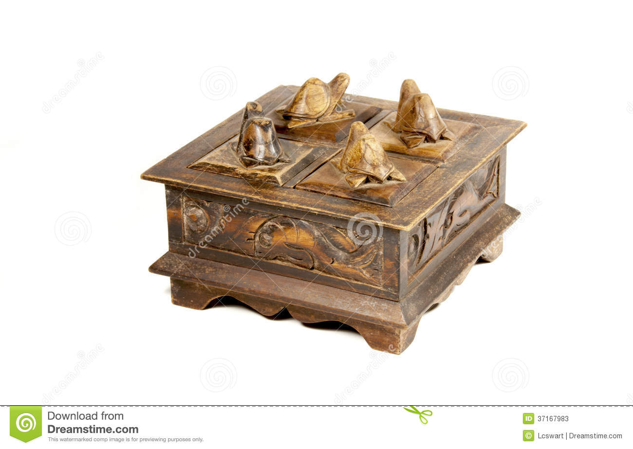 Vintage Wooden Carved Jewelry Box With Patterns And Turtles Stock