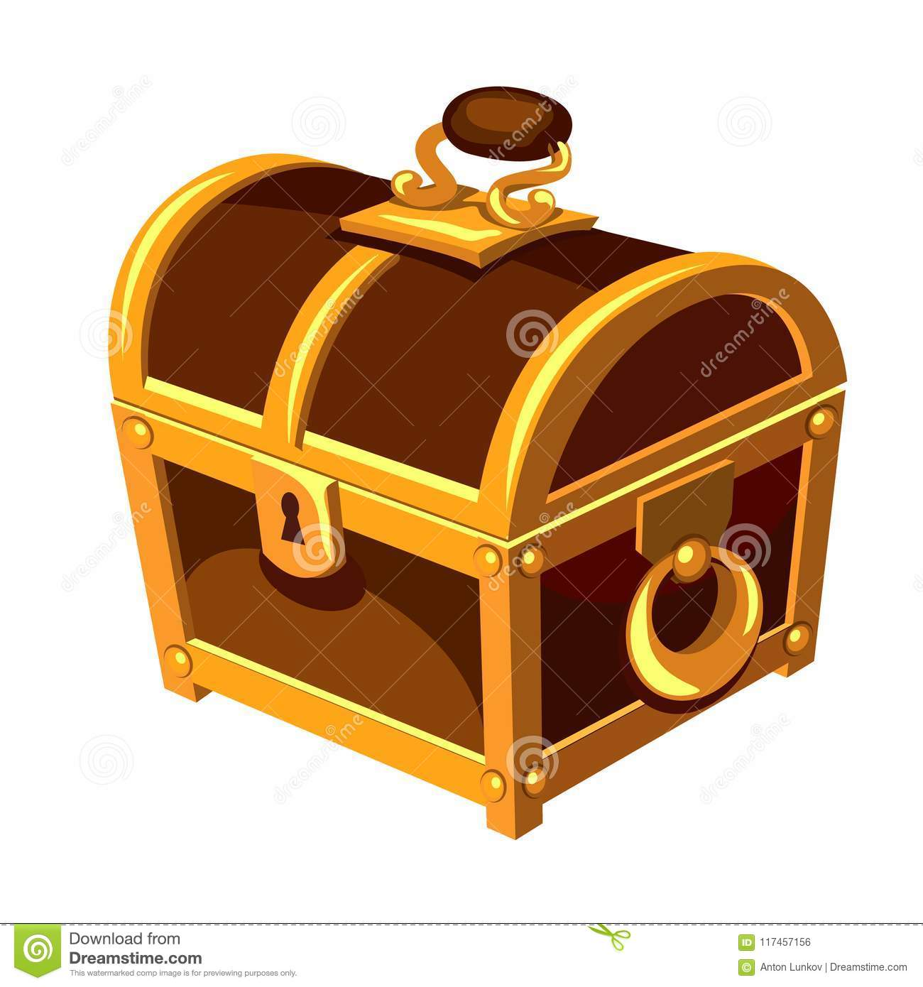 Vintage wooden chest with gold handle hinge isolated on white background. Vector cartoon close-up illustration.