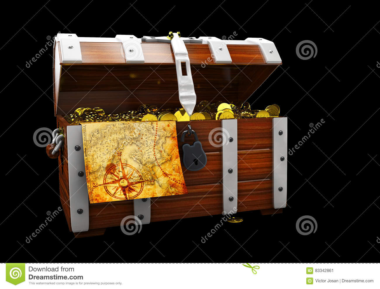 vintage wooden chest with golden coin 3D illustration isolated on black background