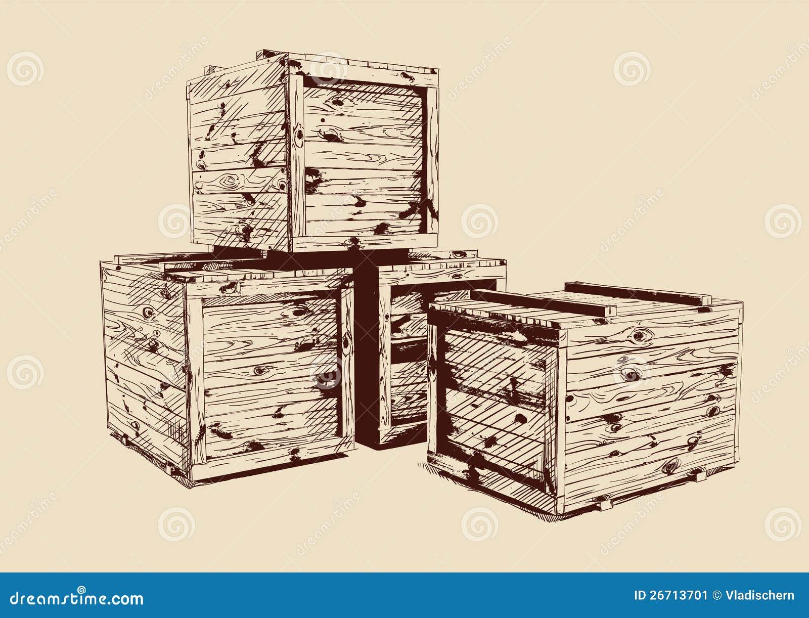 vintage wooden crates drawn stock image image 26713701