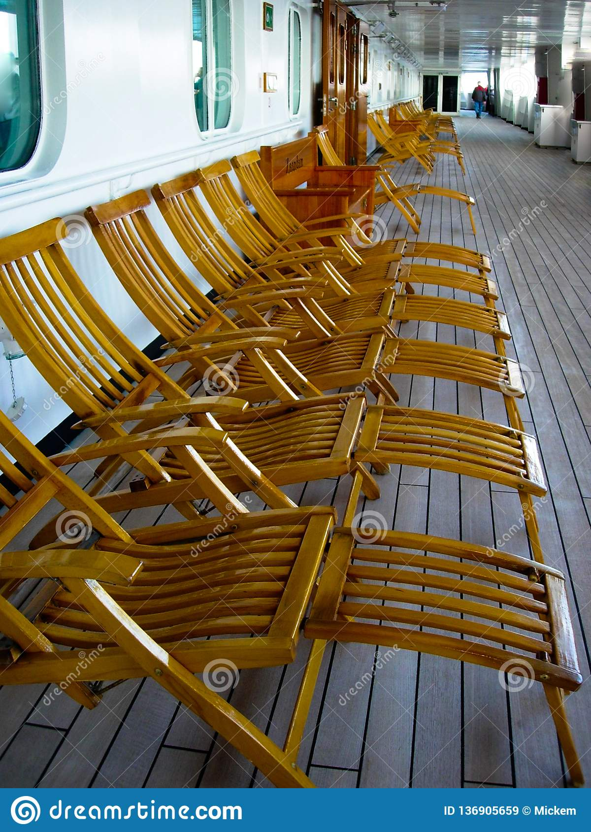 Vintage Wooden Cruise Ship Deck Chairs Sit Empty Stock ...