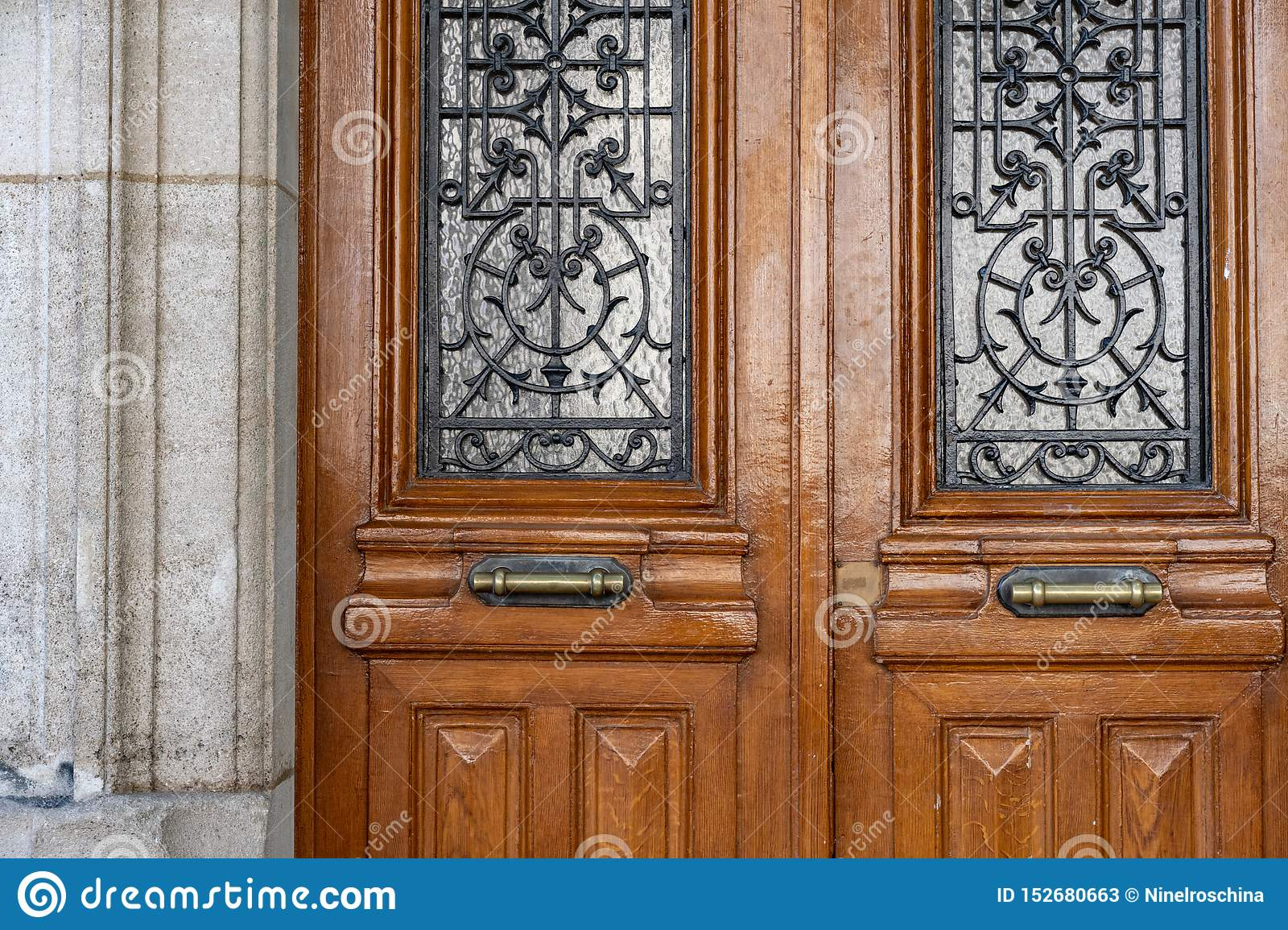Vintage Wooden Door With Framed Door Panels And Antique Ornate Metal Lattices Antique Double Door Of Ancient Stone Building Stock Image Image Of Classic Blue 152680663