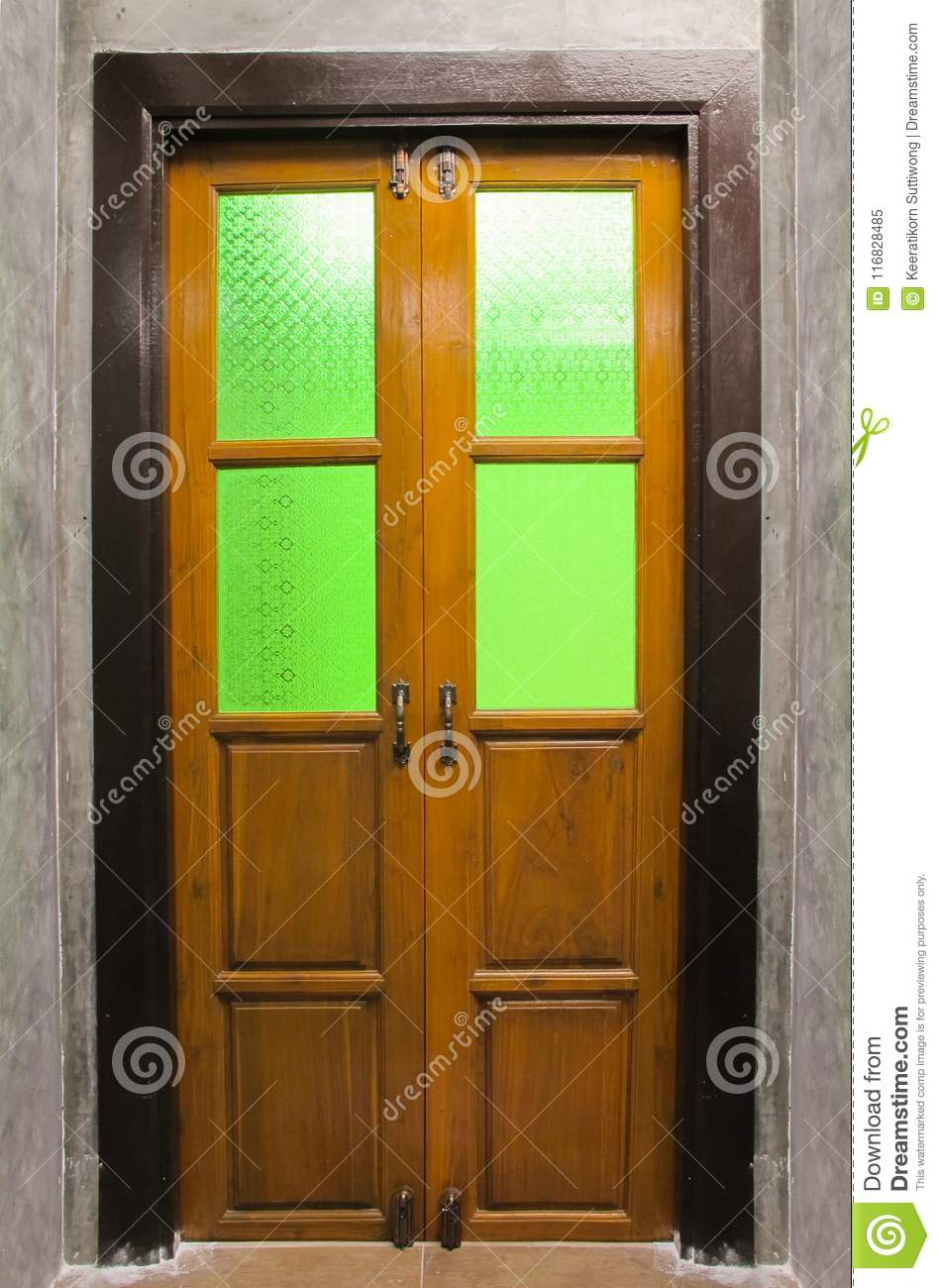 Vintage Wooden Door With Stained Glass Stock Image Image Of Gate