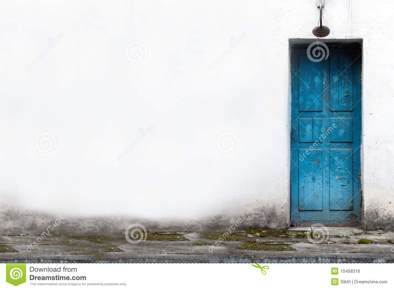 Vintage wooden door in white wall stock photo image for Door in the wall