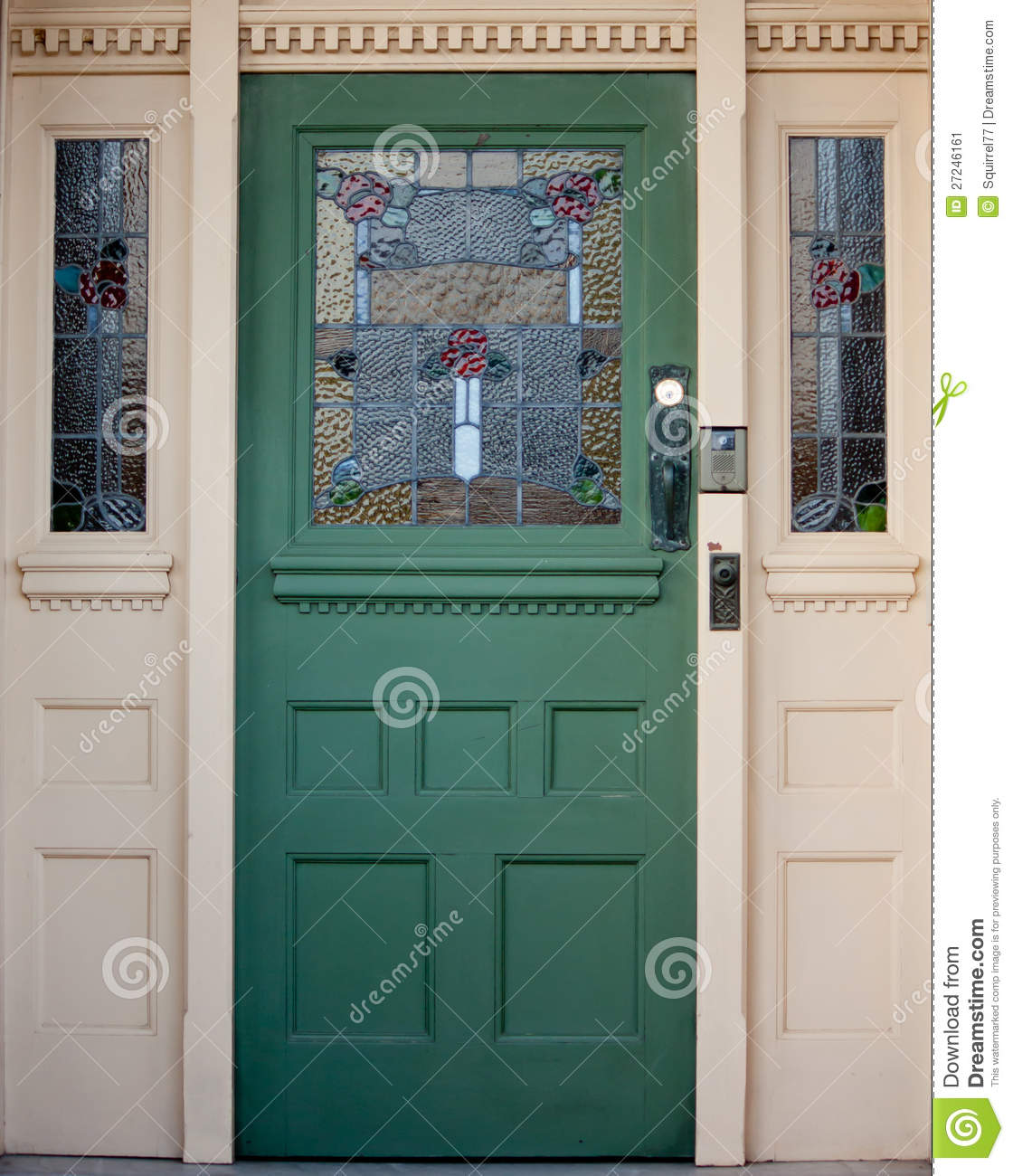 1300 #233E39 Vintage Wooden Entrance Door With Stained Glass Stock Image Image  wallpaper Wooden Doors With Glass Panels 42651120