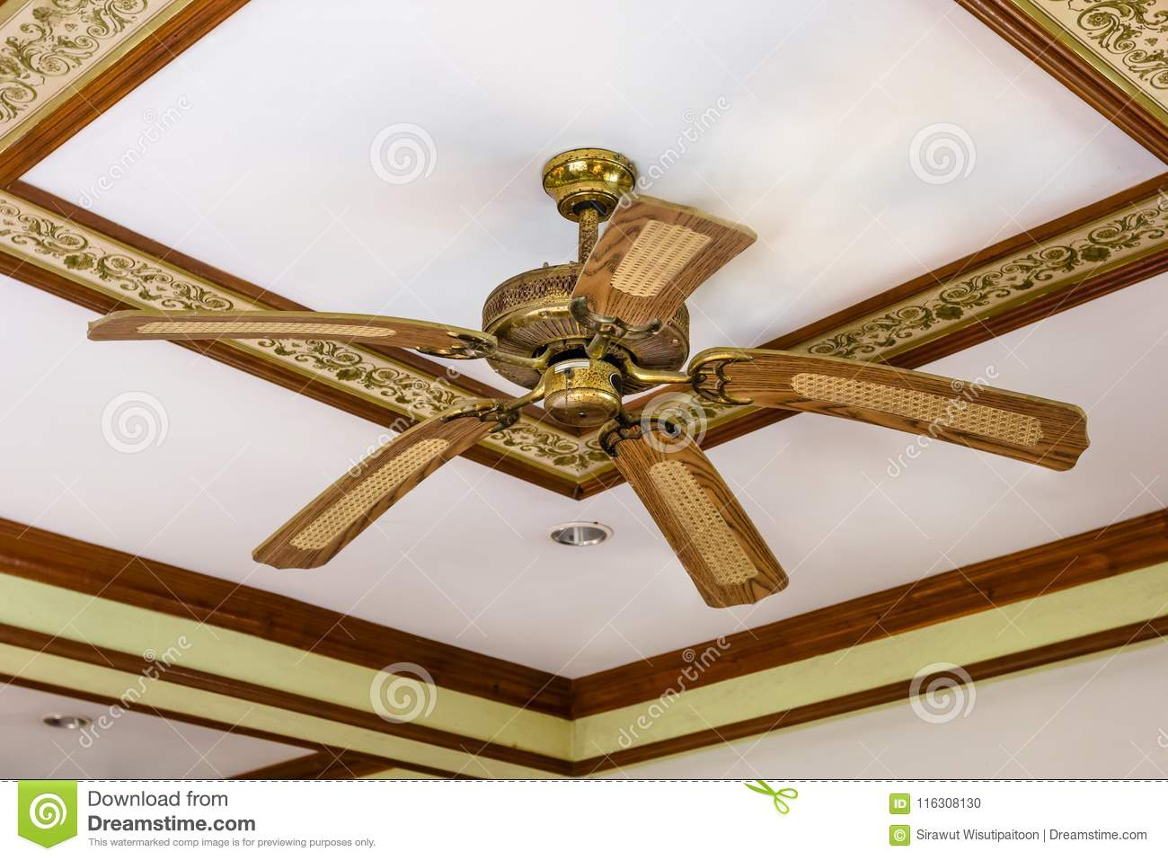 Vintage Wooden Fan Ceiling Ancient Stock Photo Image Of Interior Retro 116308130