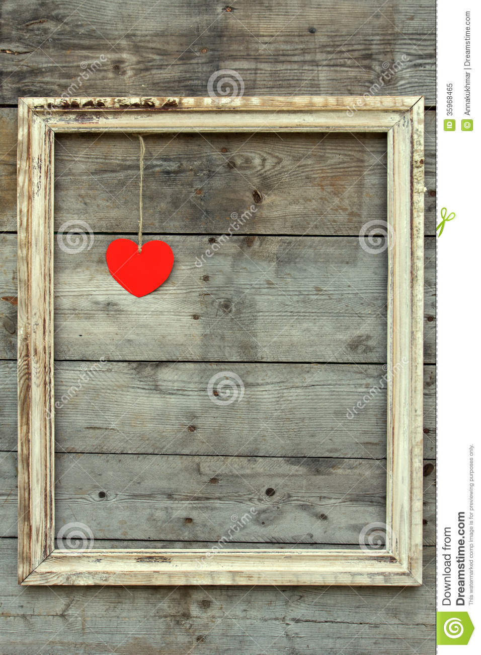 Vintage Wooden Frame With Red Heart On A Grunge Background