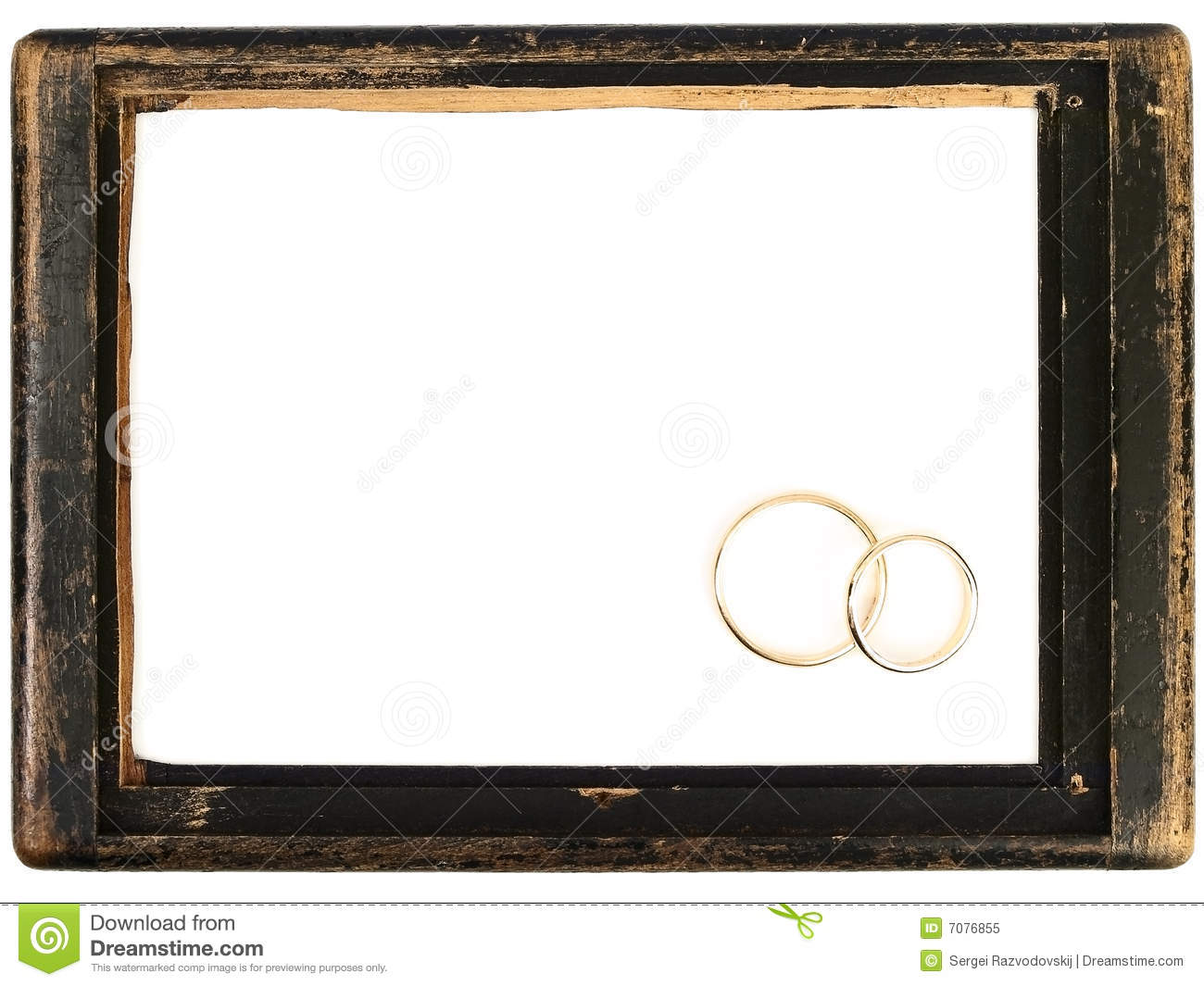 Vintage Wooden Frame And Wedding Rings Stock Image - Image of design ...