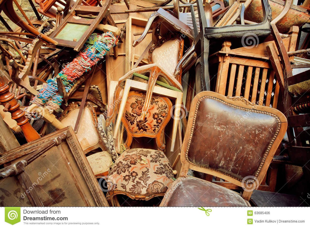 Vintage Wooden Furniture In Trash Warehouse Of Antique Market Stock