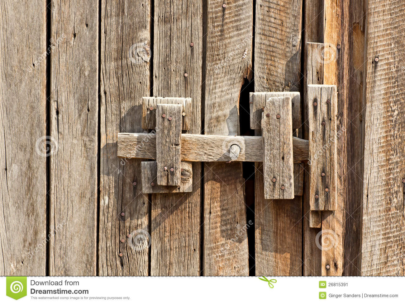 Vintage Wooden Latch On Building Stock Image Image Of