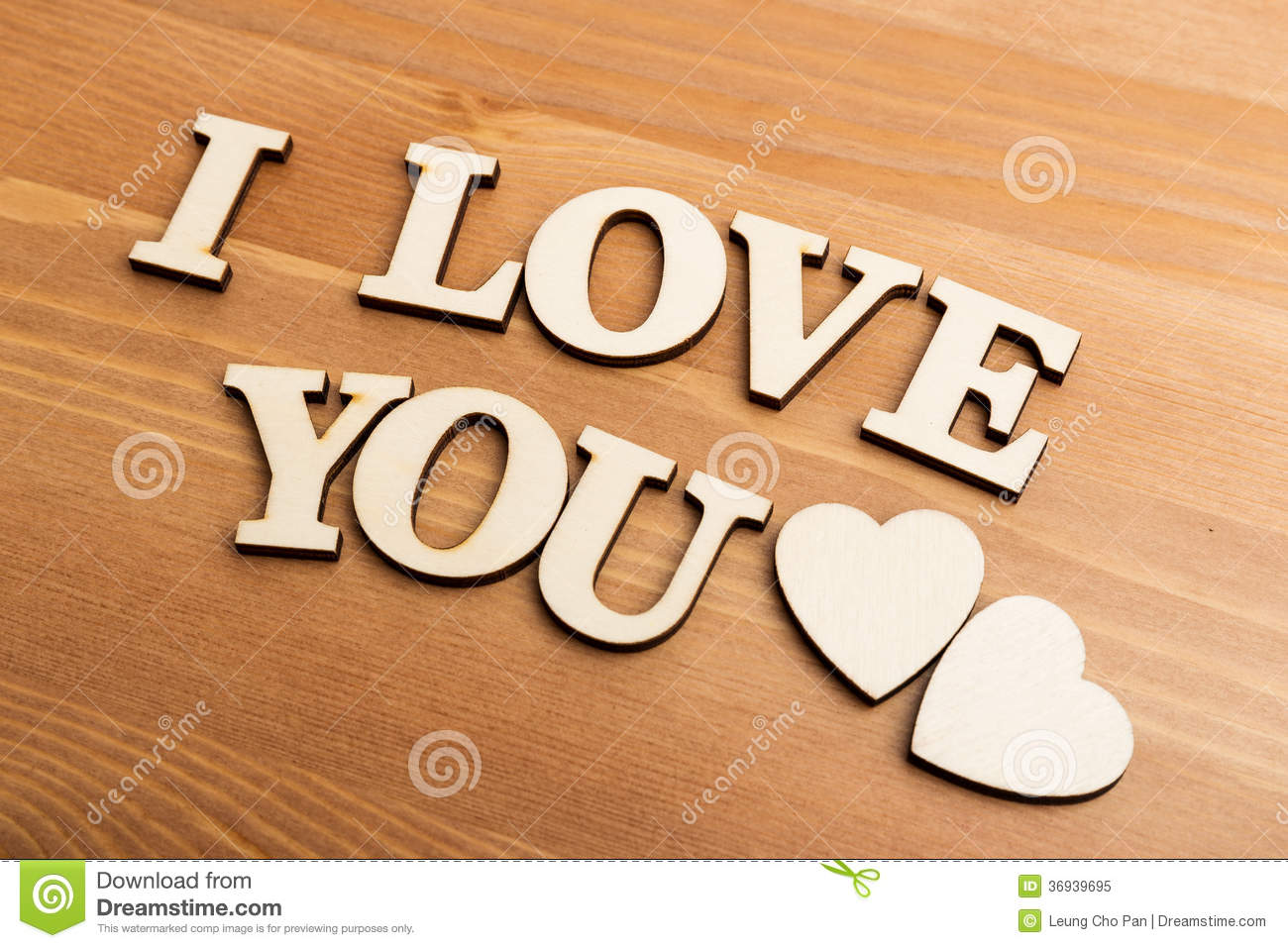 vintage wooden letters forming with phrase i love you