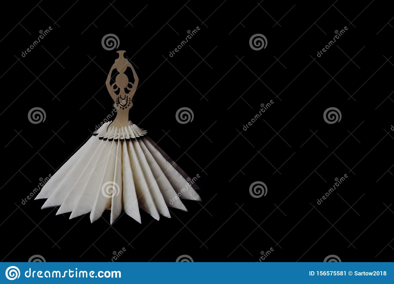 Vintage Wooden Napkin Holder In Shape Of An African Woman With Jug And Skirt Of White Napkins On Black Background Concept Stock Image Image Of Element Fantasy 156575581