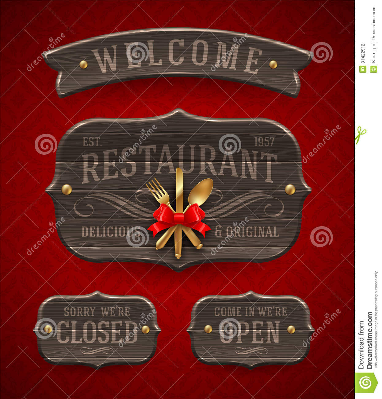 Vintage wooden restaurant signs stock photography image