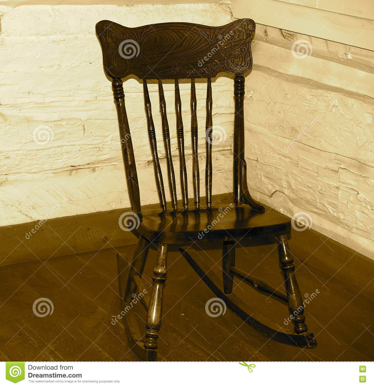 Terrific Vintage Wooden Rocking Chair In Sepia Stock Photo Image Of Download Free Architecture Designs Rallybritishbridgeorg
