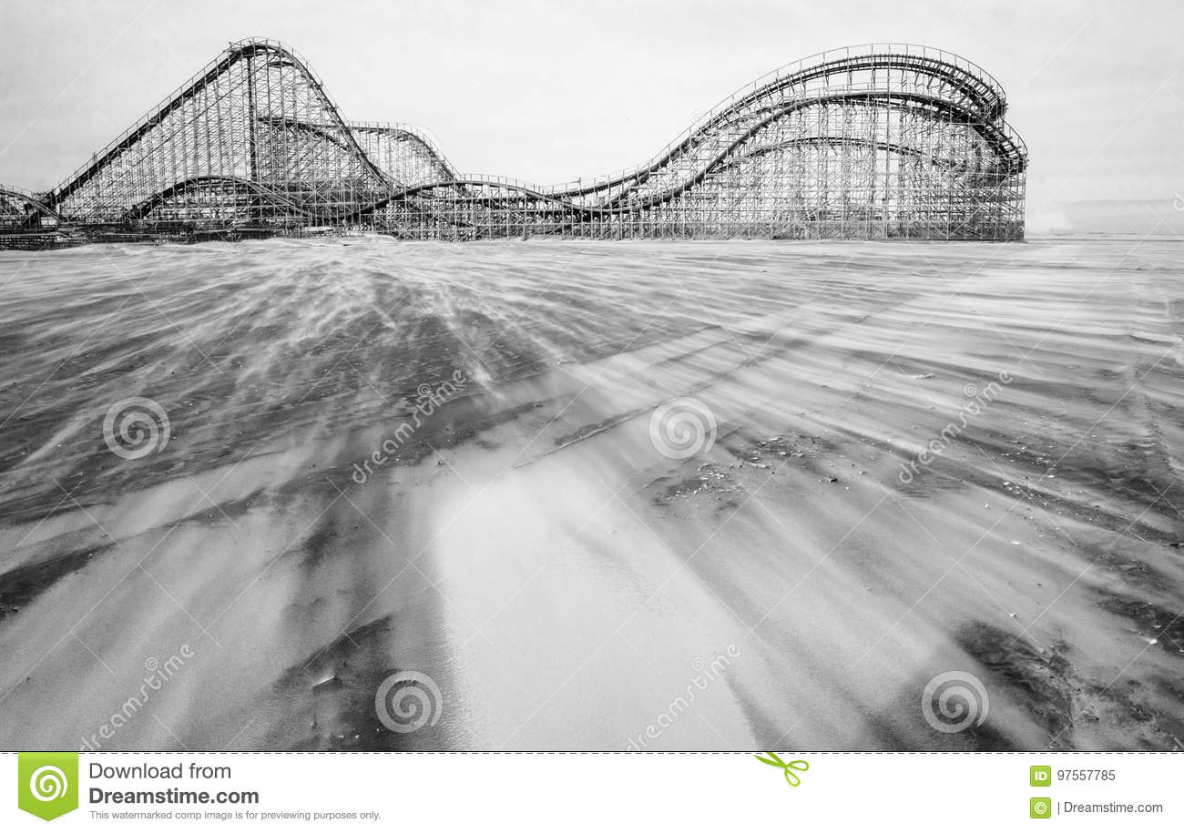 Vintage wooden Rollercoaster on the beach.