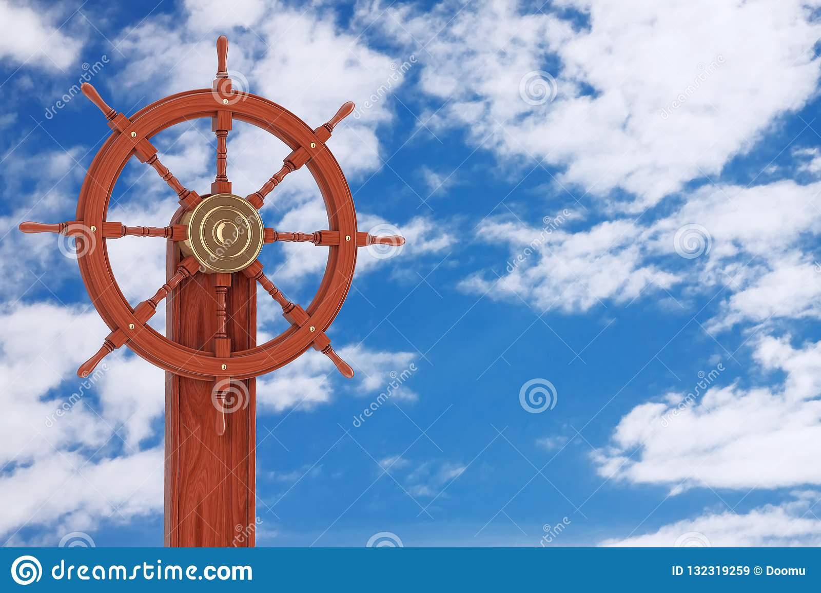 Vintage Wooden Ship Steering Wheel With Stand 3d Rendering Stock Illustration Illustration Of Sailboat Nautical 132319259