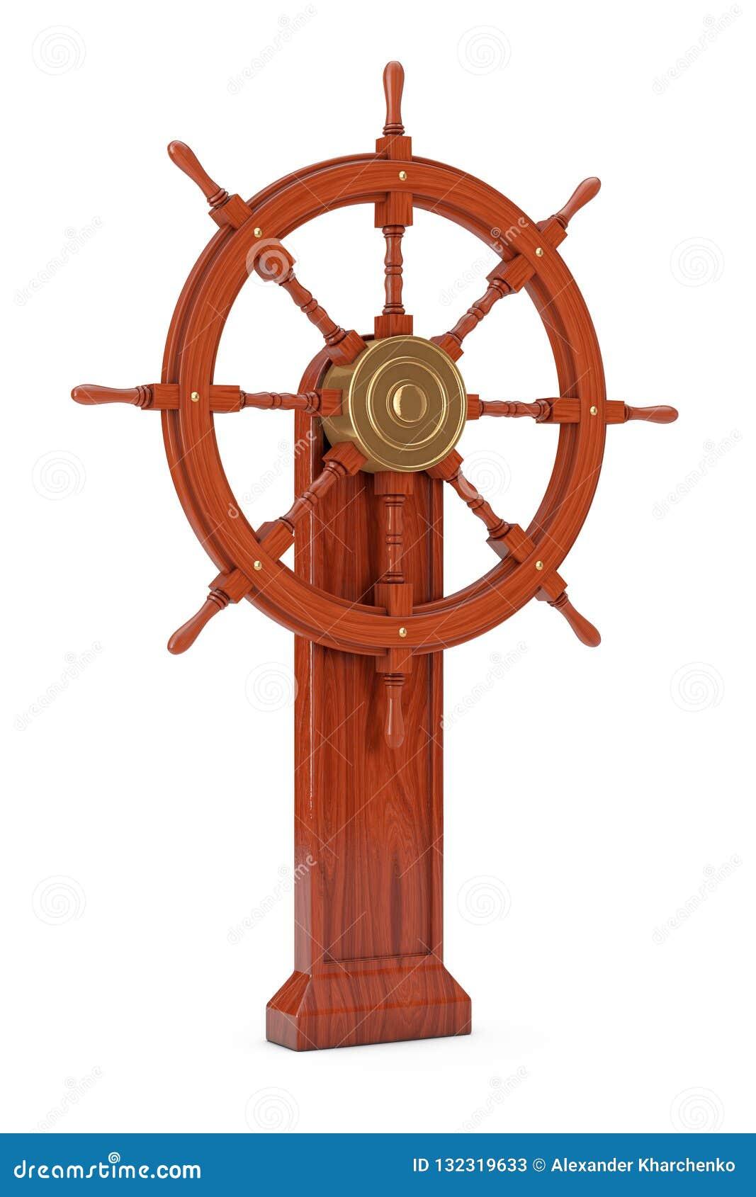 Vintage Wooden Ship Steering Wheel With Stand 3d Rendering Stock Illustration Illustration Of Nostalgia Antique 132319633