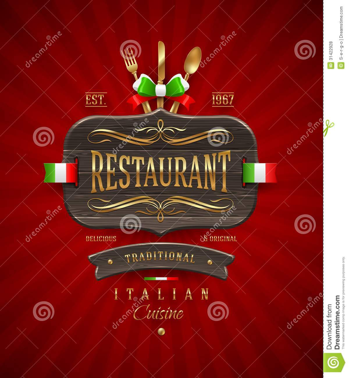 Vintage wooden sign of italian restaurant royalty free