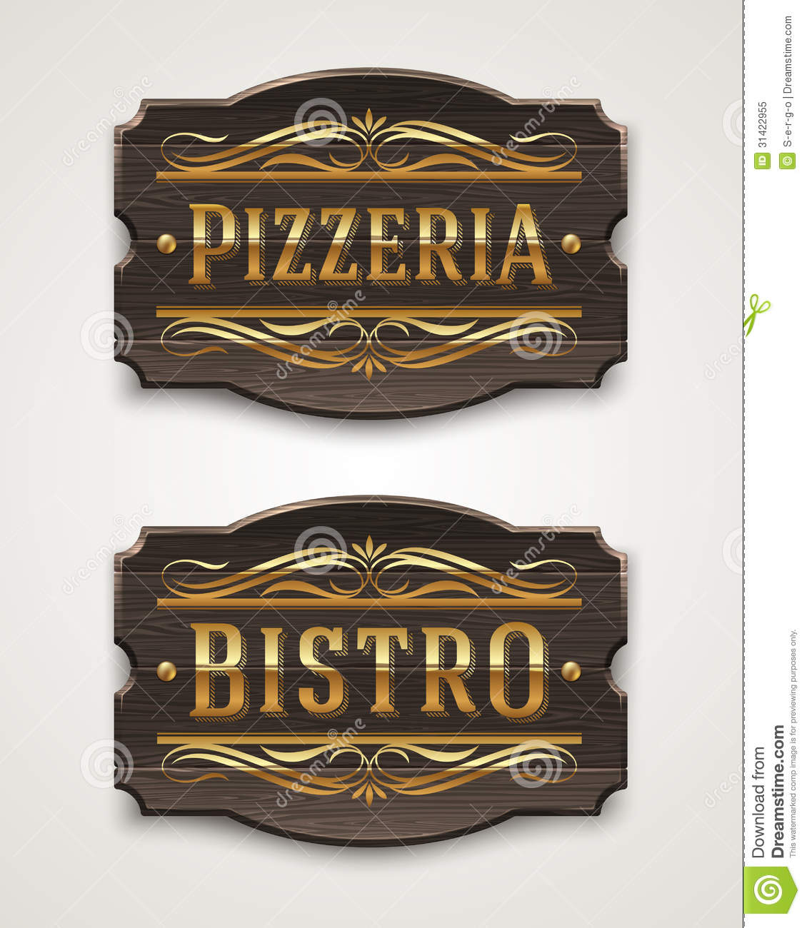 Vintage wooden signs for pizzeria and bistro royalty free stock photo image 31422955 - Decoratie pizzeria ...