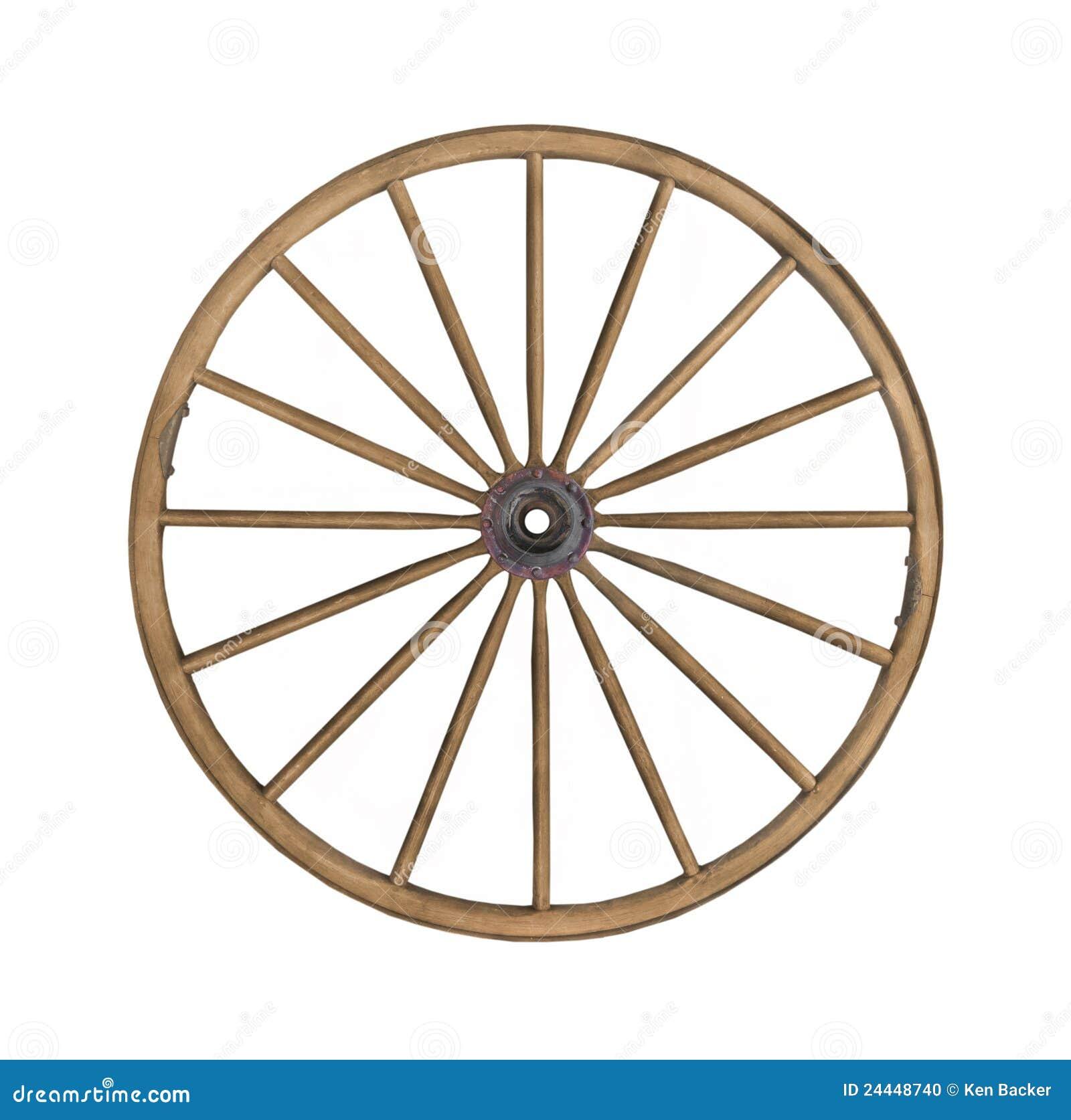 Vintage Wooden Wagon Wheel Isolated Stock Photo Image