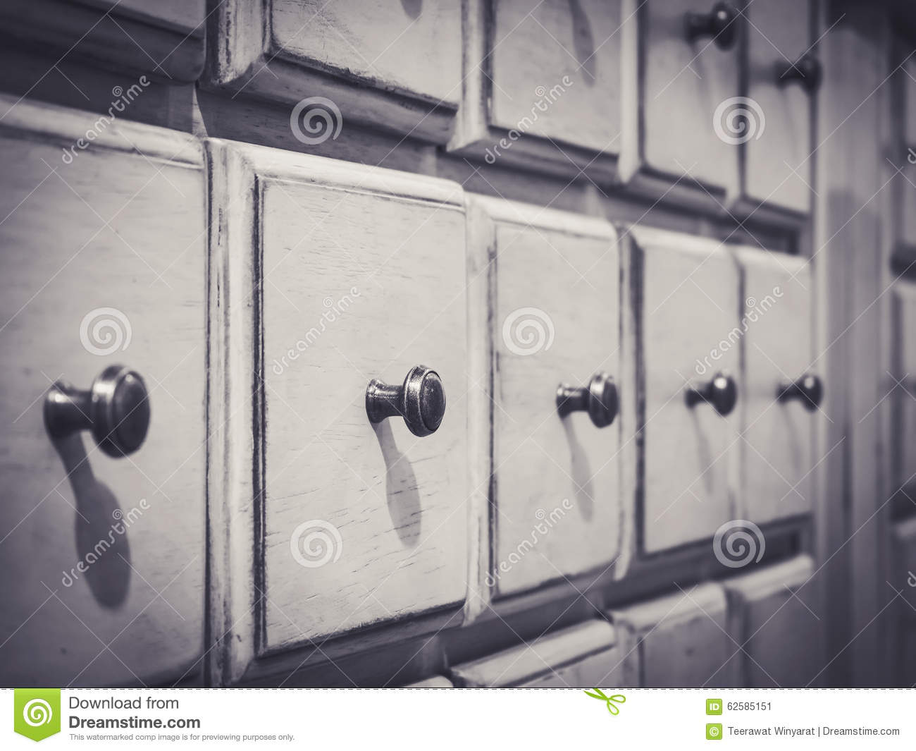 Vintage Wooden White Drawer With Handle Stock Image Image