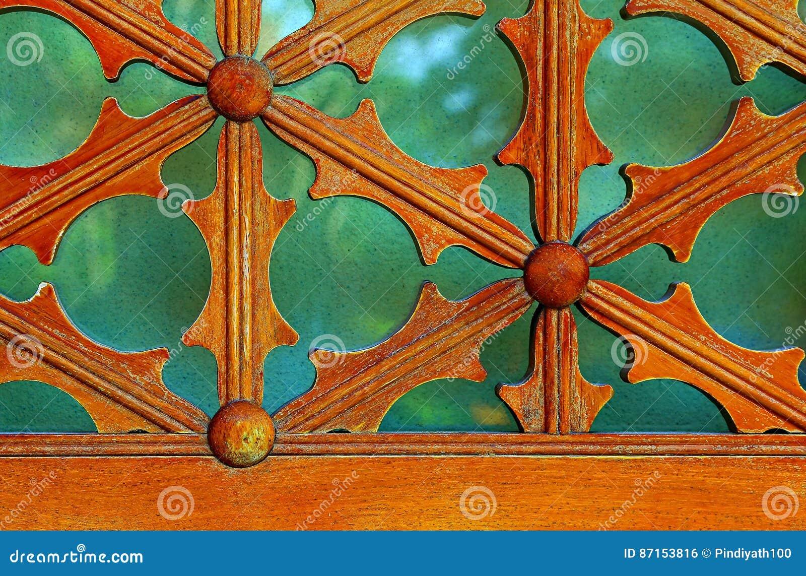 Vintage wooden window frame details.