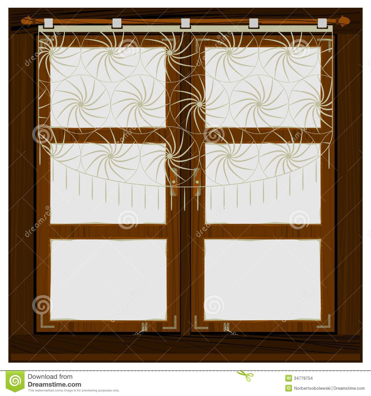 Vintage wooden window stock vector image of design for Window design made of wood