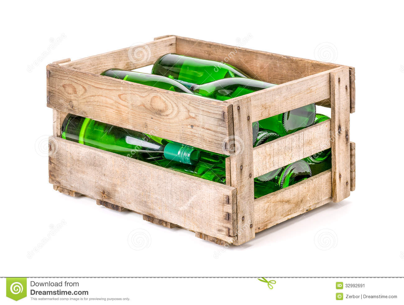 Vintage Wooden Wine Crate Filled With Wine Bottles Stock