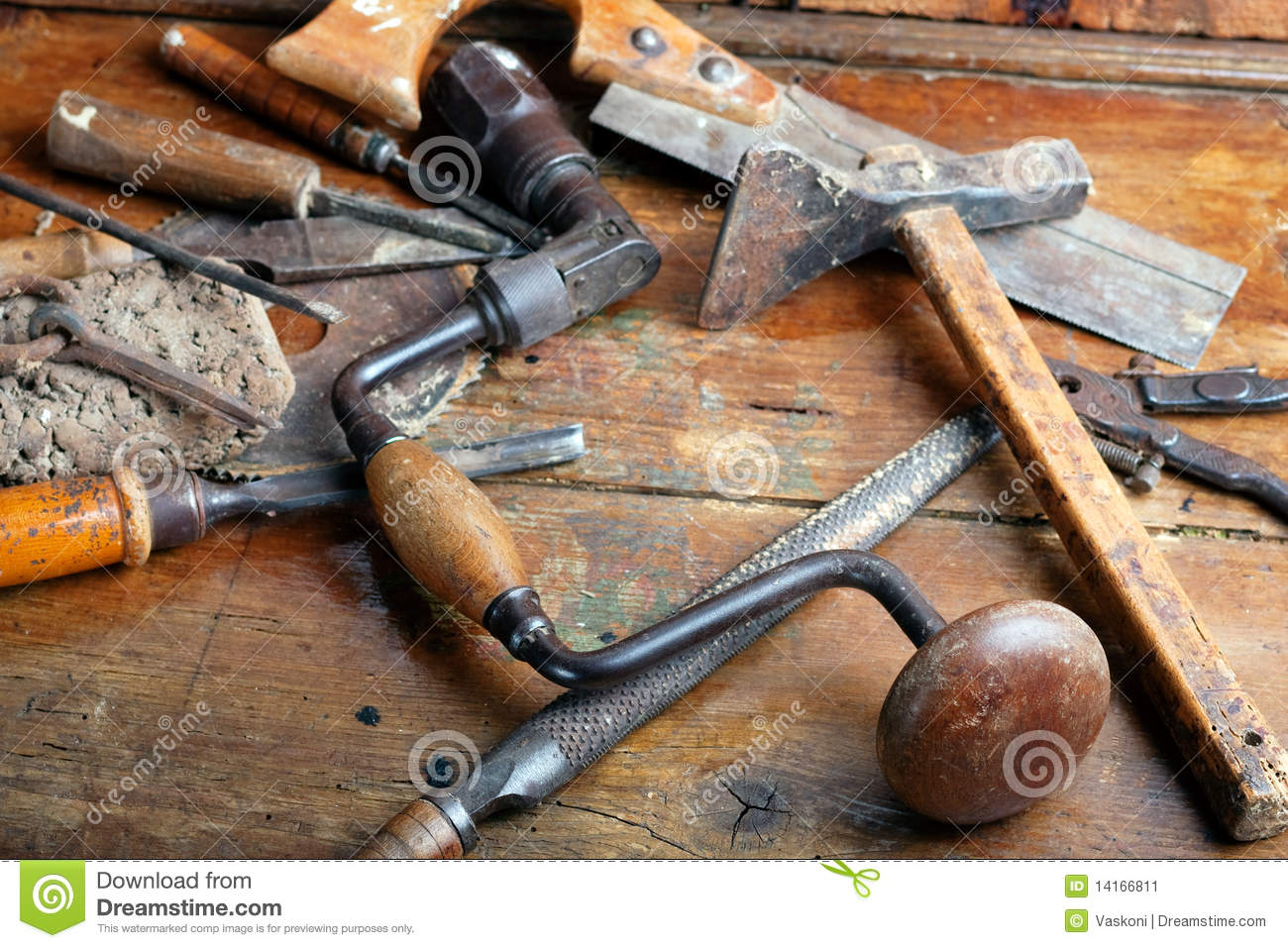 Vintage Woodworking Tools Stock Image Image Of Carpenter 14166811