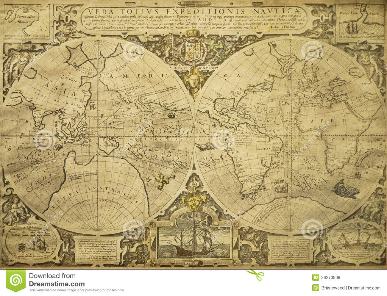 Vintage world map tattoo images free download old world map tattoo gumiabroncs Choice Image