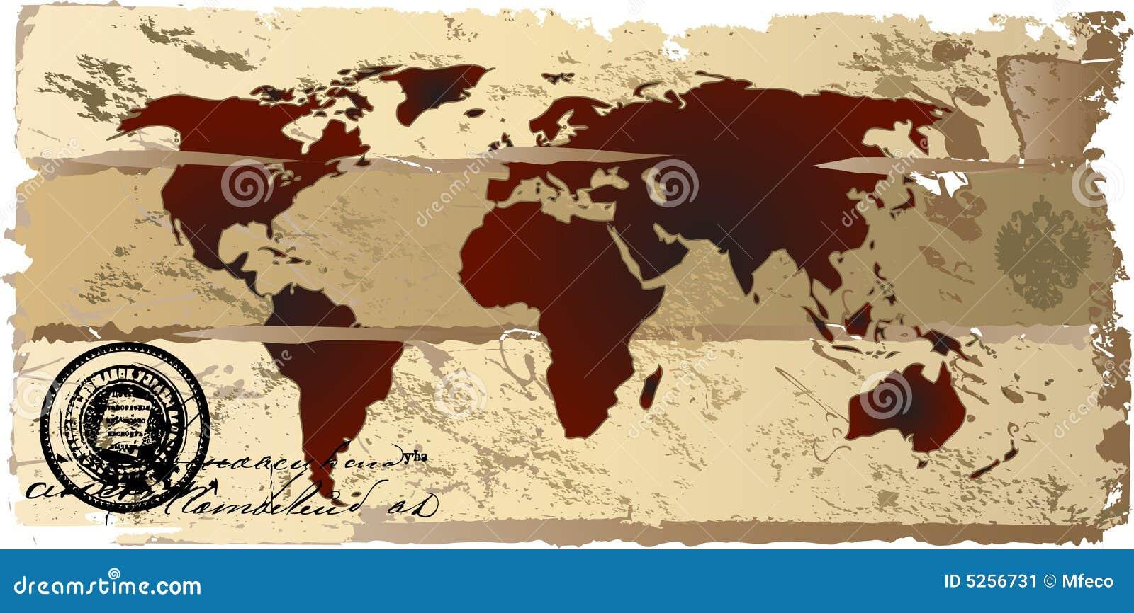 Vintage world map stock vector illustration of antique 5256731 vintage world map gumiabroncs Images