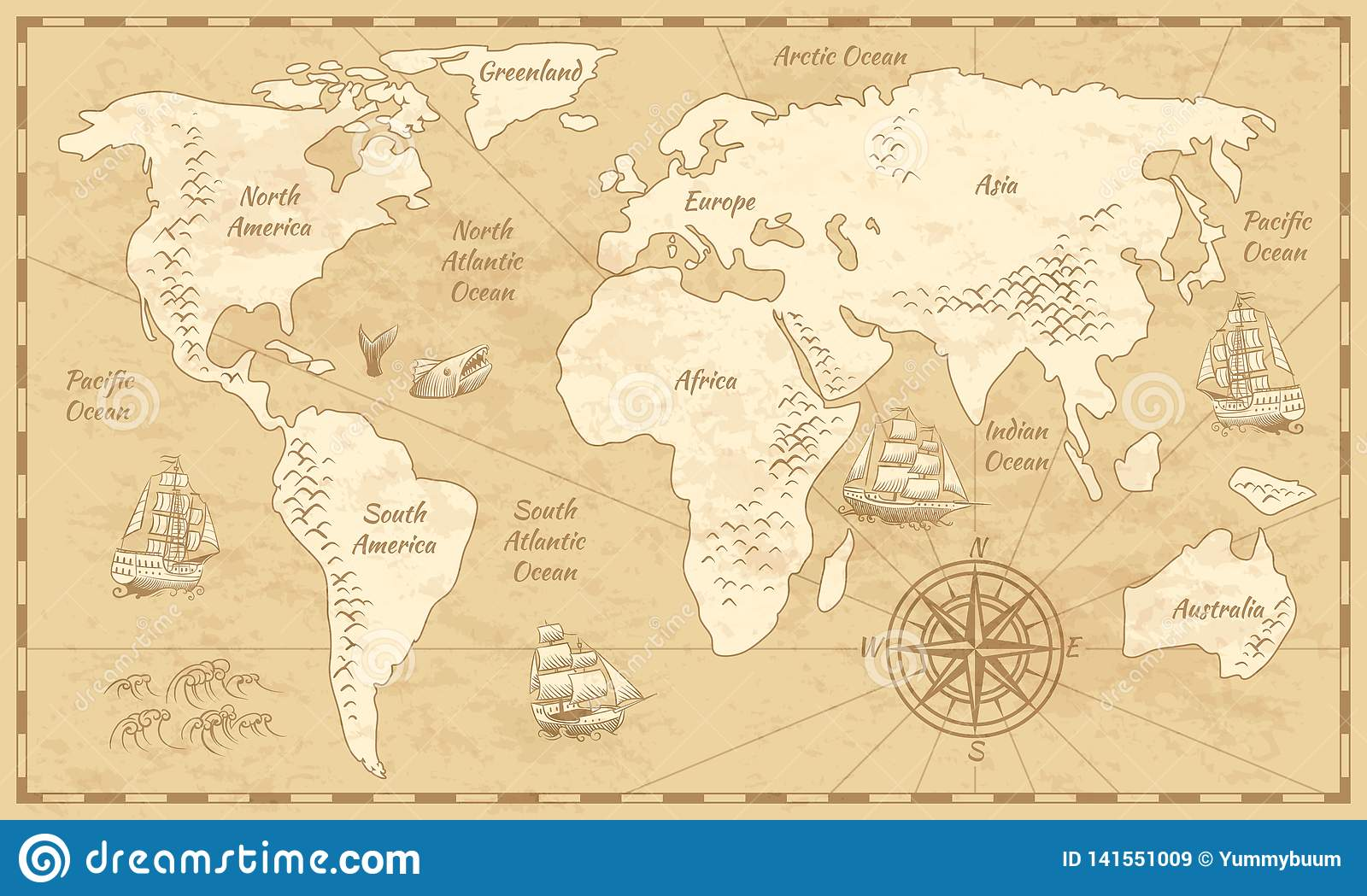 nautical sailing map of the world Vintage World Map Ancient World Antiquity Paper Map With