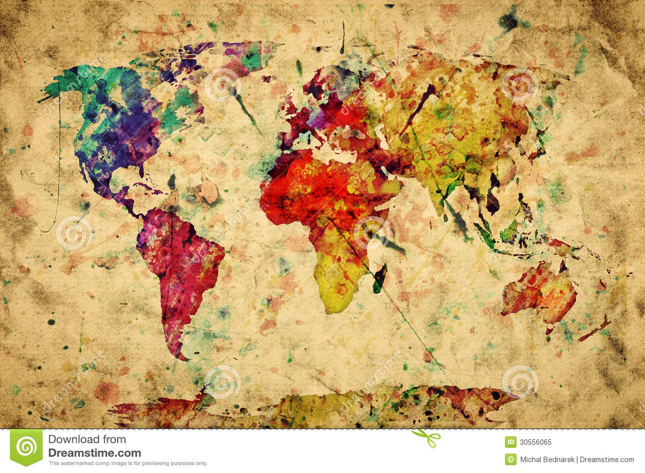 Vintage world map colorful paint stock illustration illustration download comp gumiabroncs Image collections