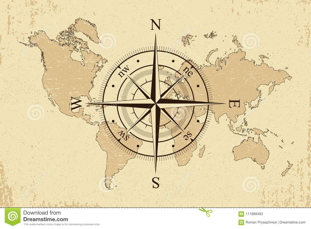 Picture of: Vintage World Map With Retro Compass Background Old Paper Map And Wind Rose Vector Stock Vector Illustration Of Background Antique 111889493