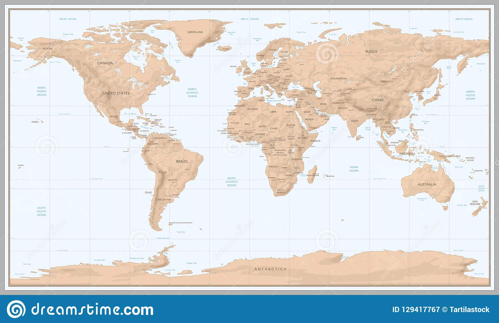 Navigation World Map.Vintage World Map Retro Countries Boundaries On Topographic Or