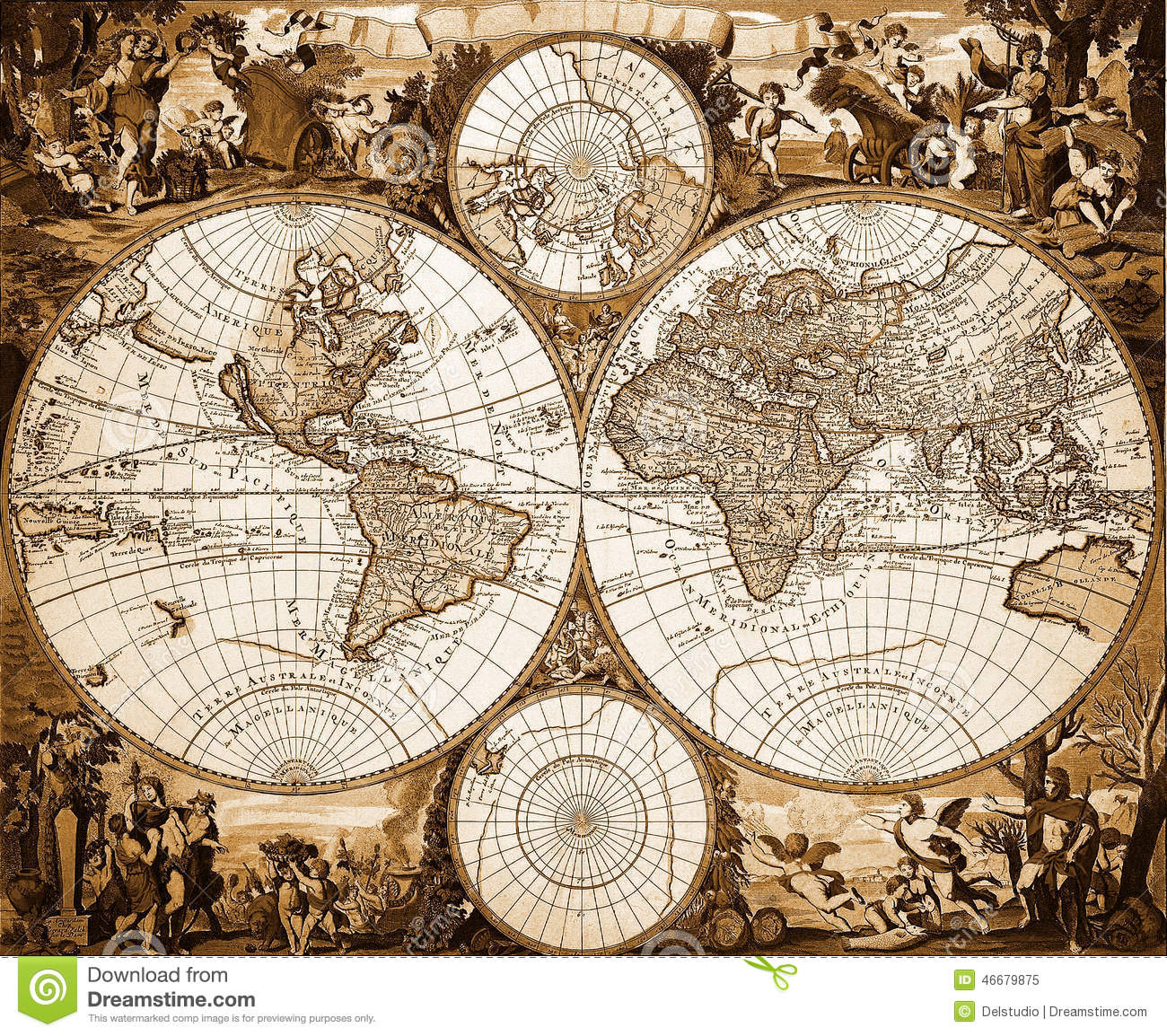 Vintage World Map. Sepia Tones Royalty Free Stock Photo