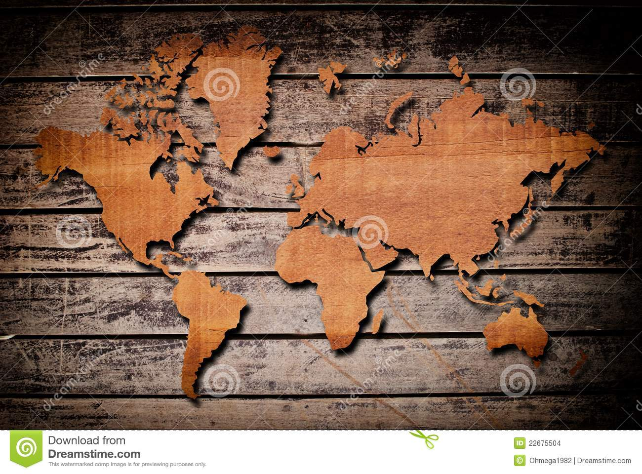 Vintage World Map With Vintage Wood Texture Stock