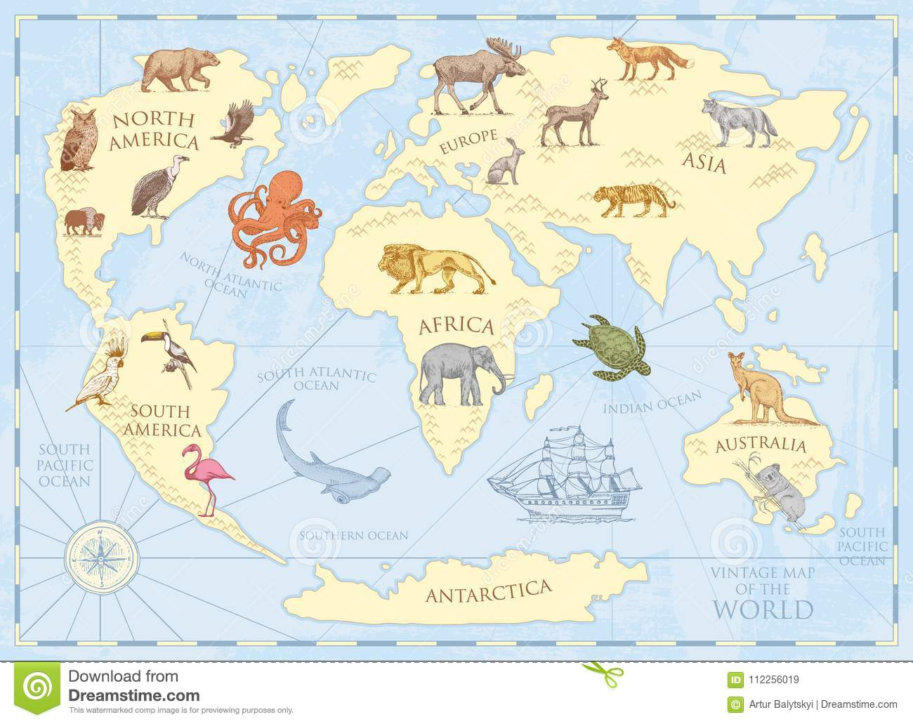 Vintage world map with wild animals and mountains sea creatures in download comp gumiabroncs Images