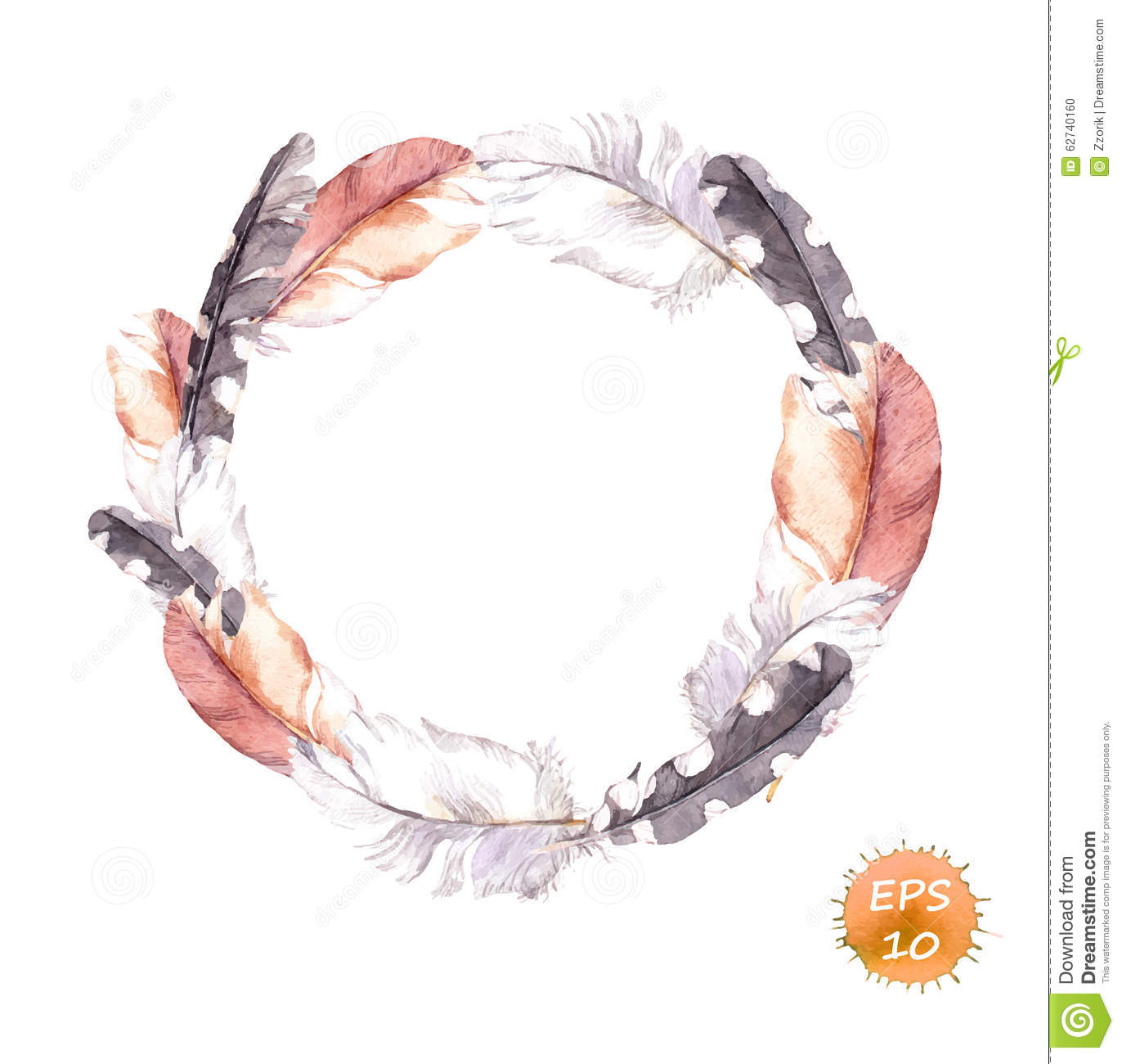 Vintage Wreath Feathers Border In Boho Style Watercolor
