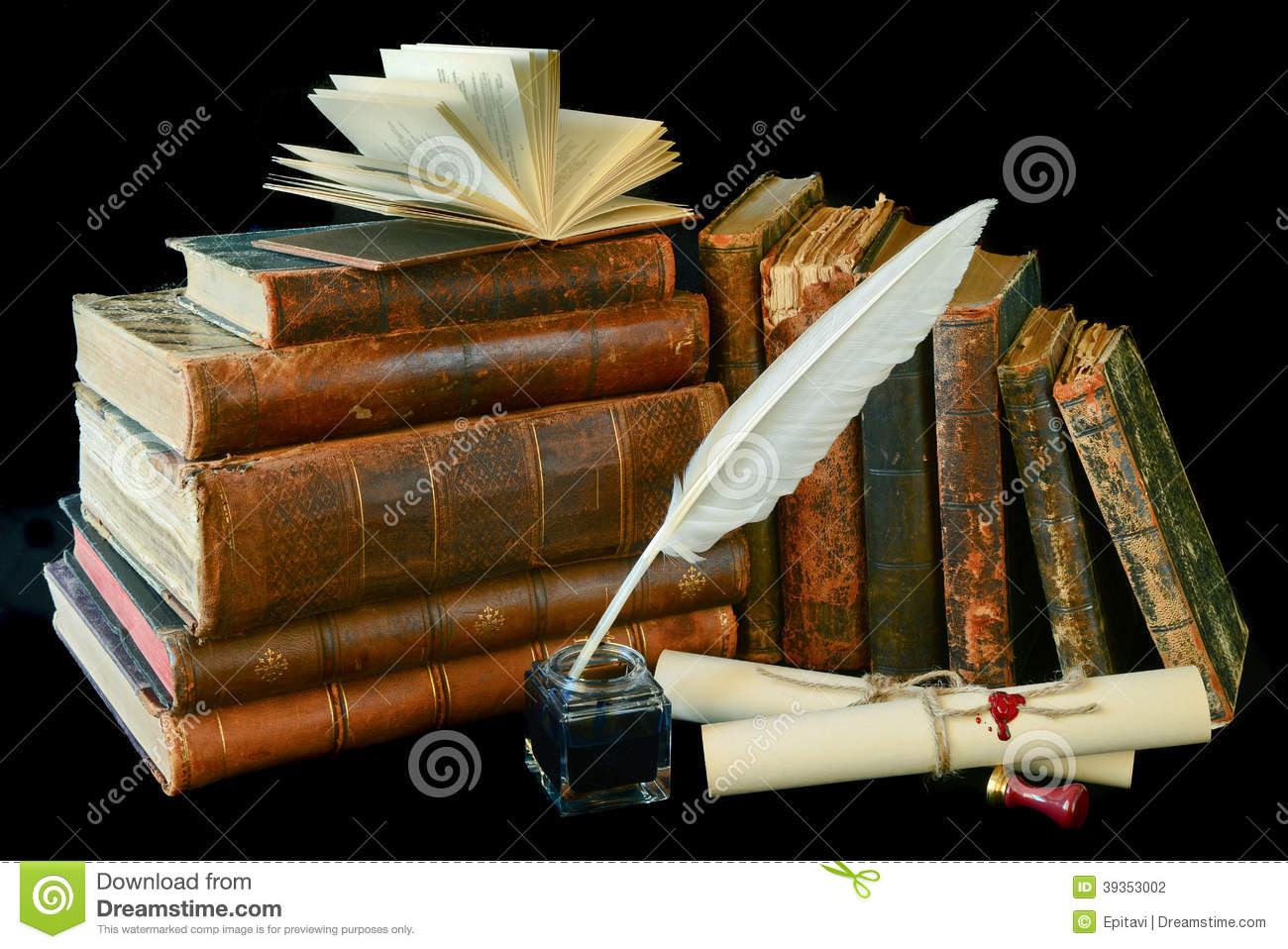 Vintage Writing Instruments And Old Books Stock Photo