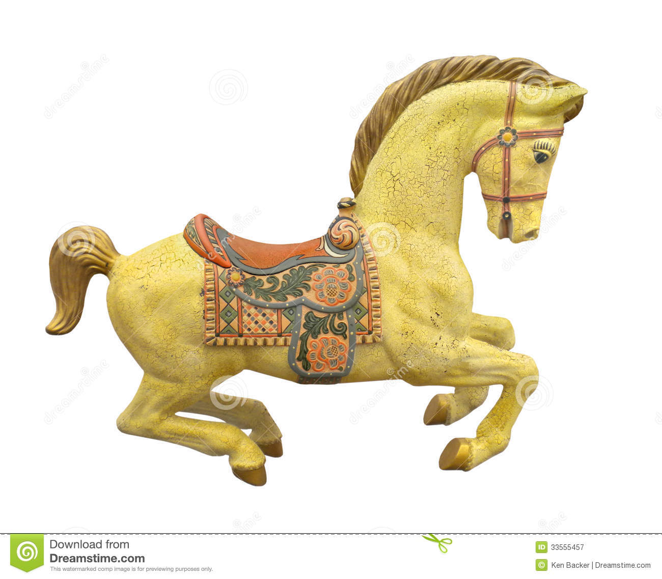 Vintage Yellow Carousel Horse Isolated. Royalty Free Stock ...