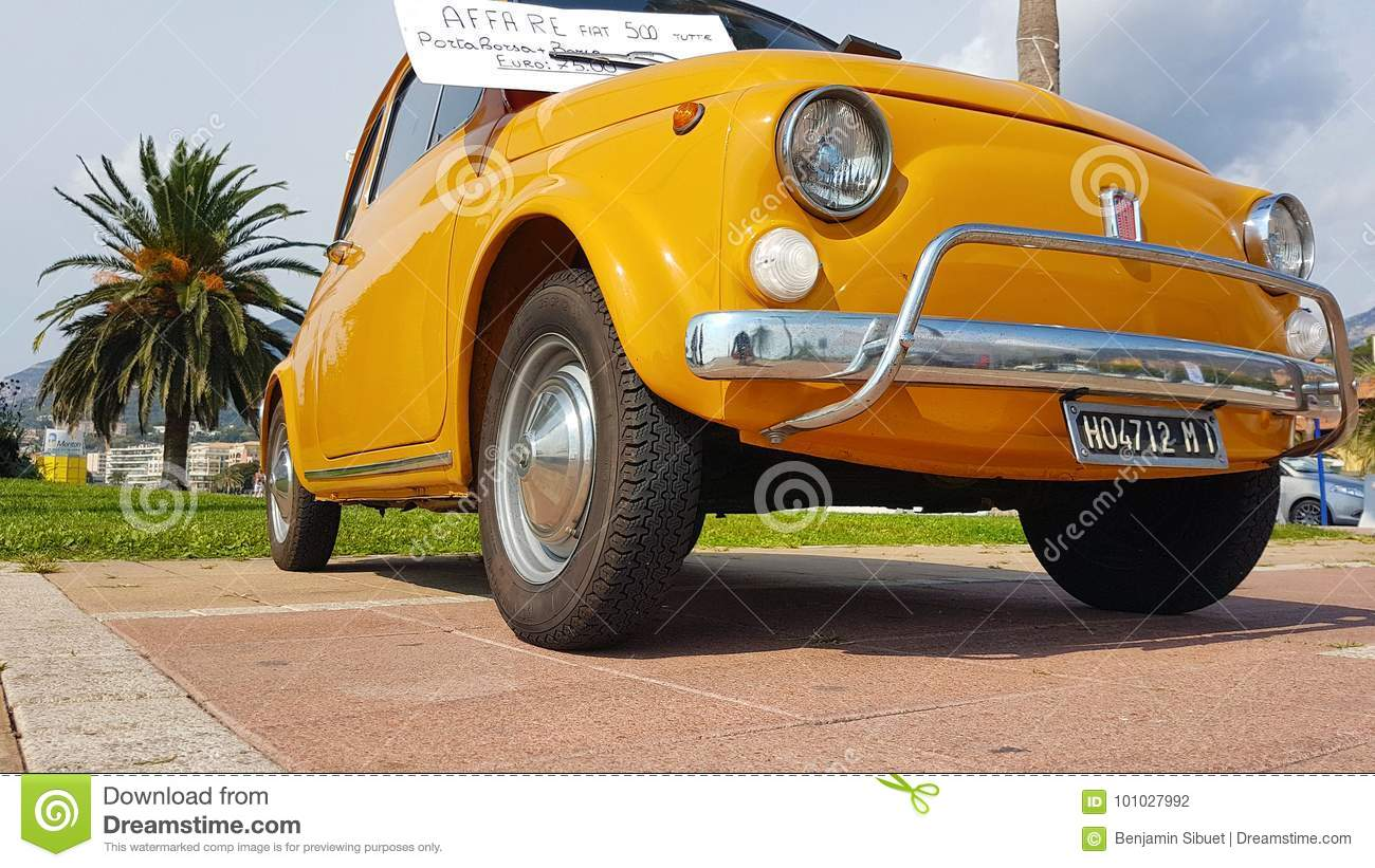 Vintage Yellow Fiat 500 Editorial Photography Image Of Economy