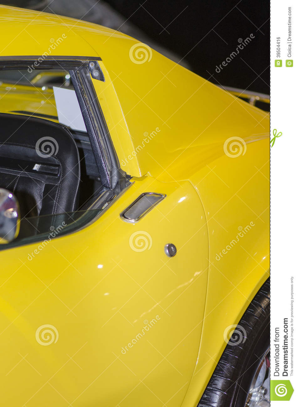 Vintage yellow sports car